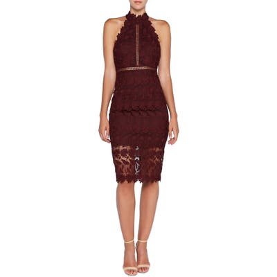 Bardot Noni Lace Halter Dress, Burgundy