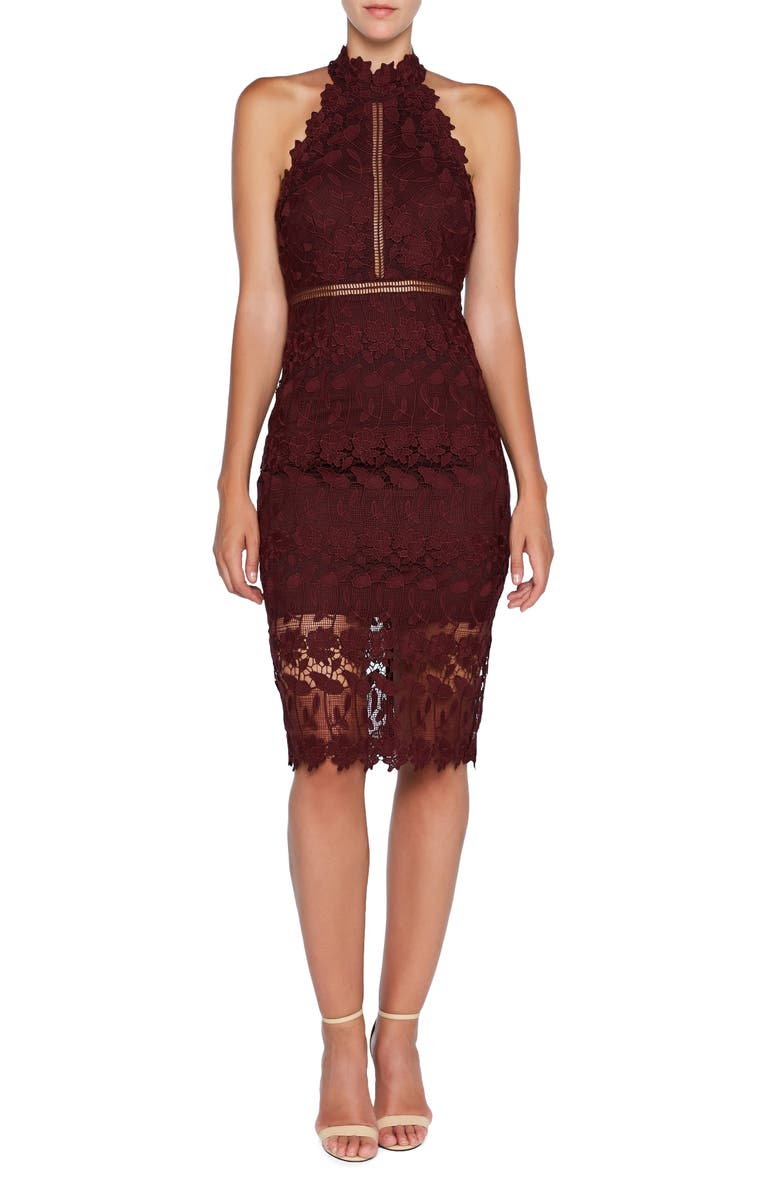 BARDOT Noni Lace Halter Dress, Main, color, WINE