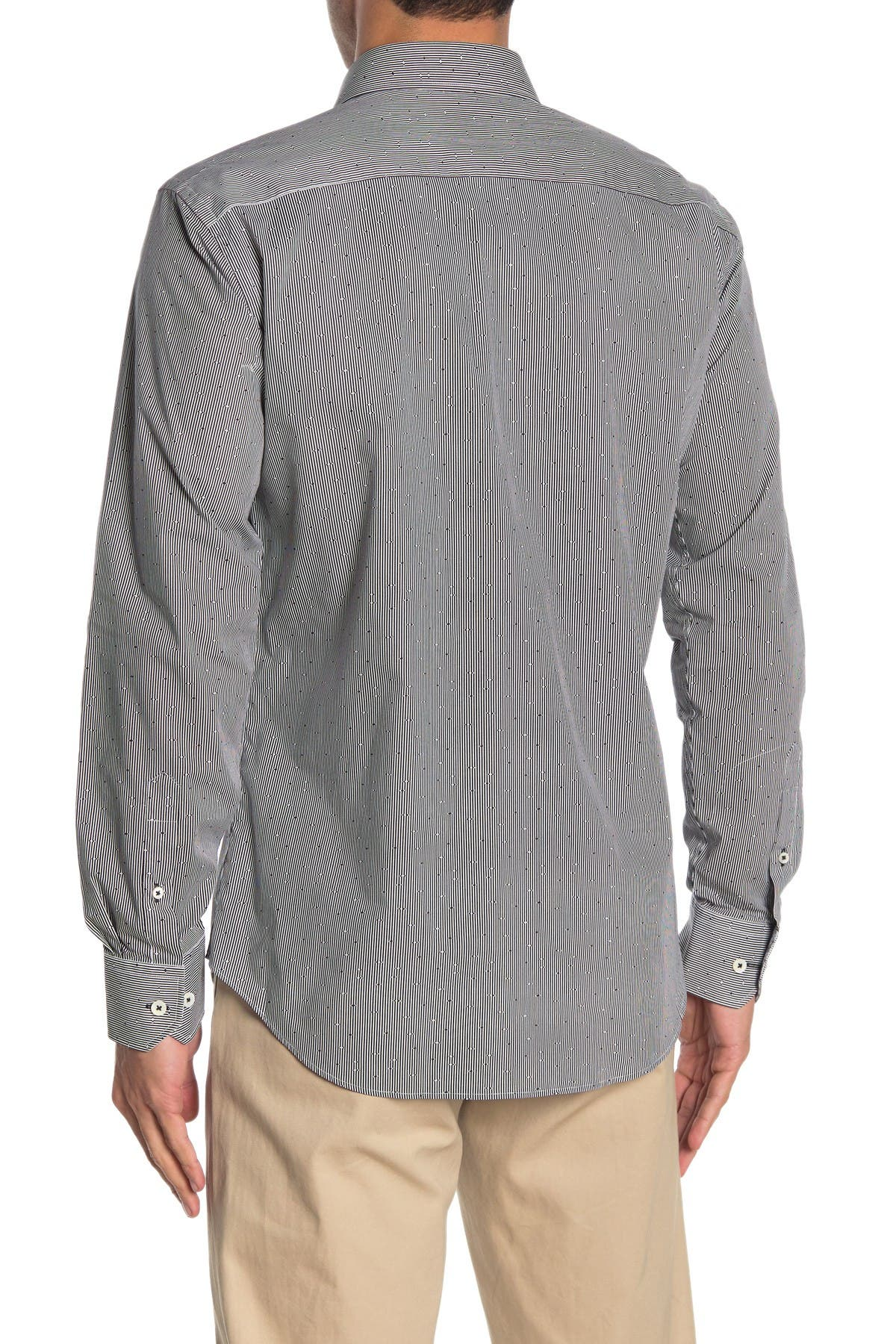 Bugatchi Print Shaped Fit Woven Sport Shirt