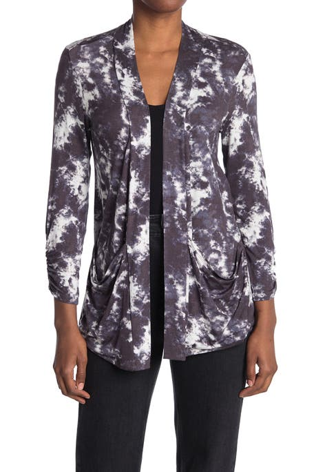Bobeau - Ruched Sleeve Open Front Cardigan