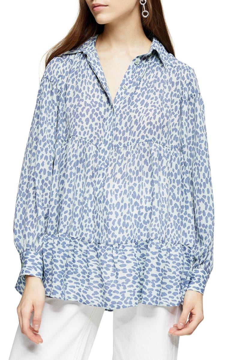 TOPSHOP Tiered Cheetah Print Shirt, Main, color, BLUE