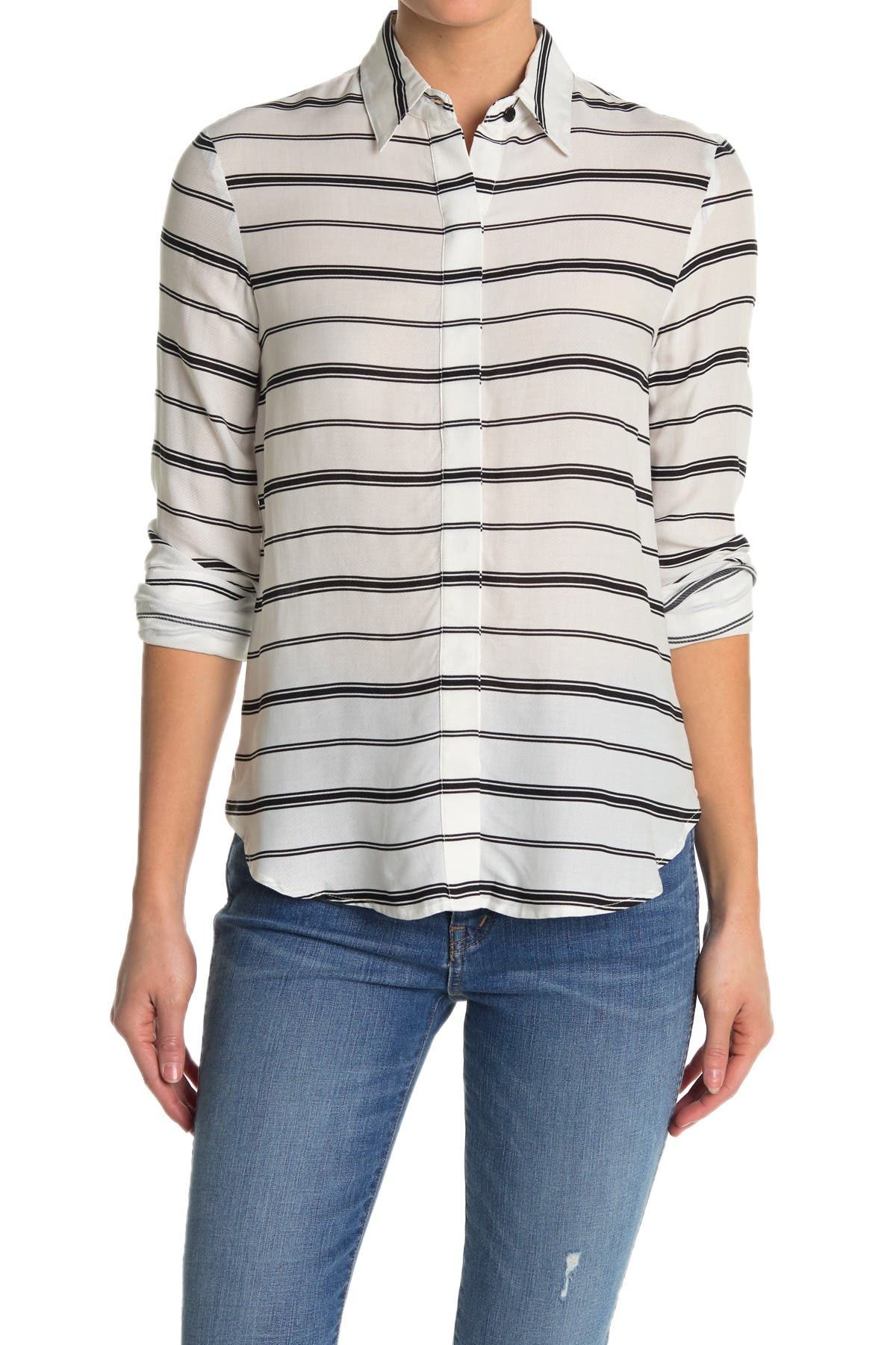 Image of BB Dakota Behind the Lines Striped Long Sleeve Blouse