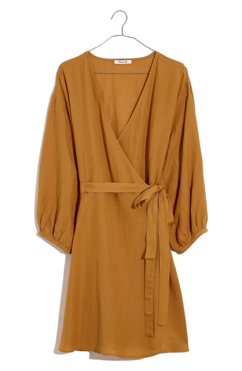 MADEWELL Linen Blend Balloon Sleeve Wrap Dress, Main, color, TOFFEE