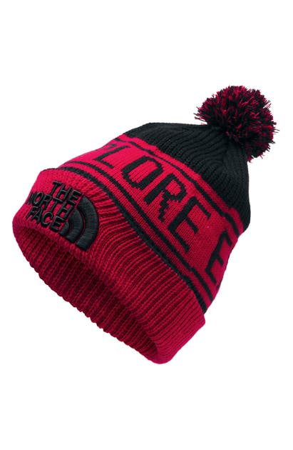 The North Face Retro Pom Beanie In Red/ Black