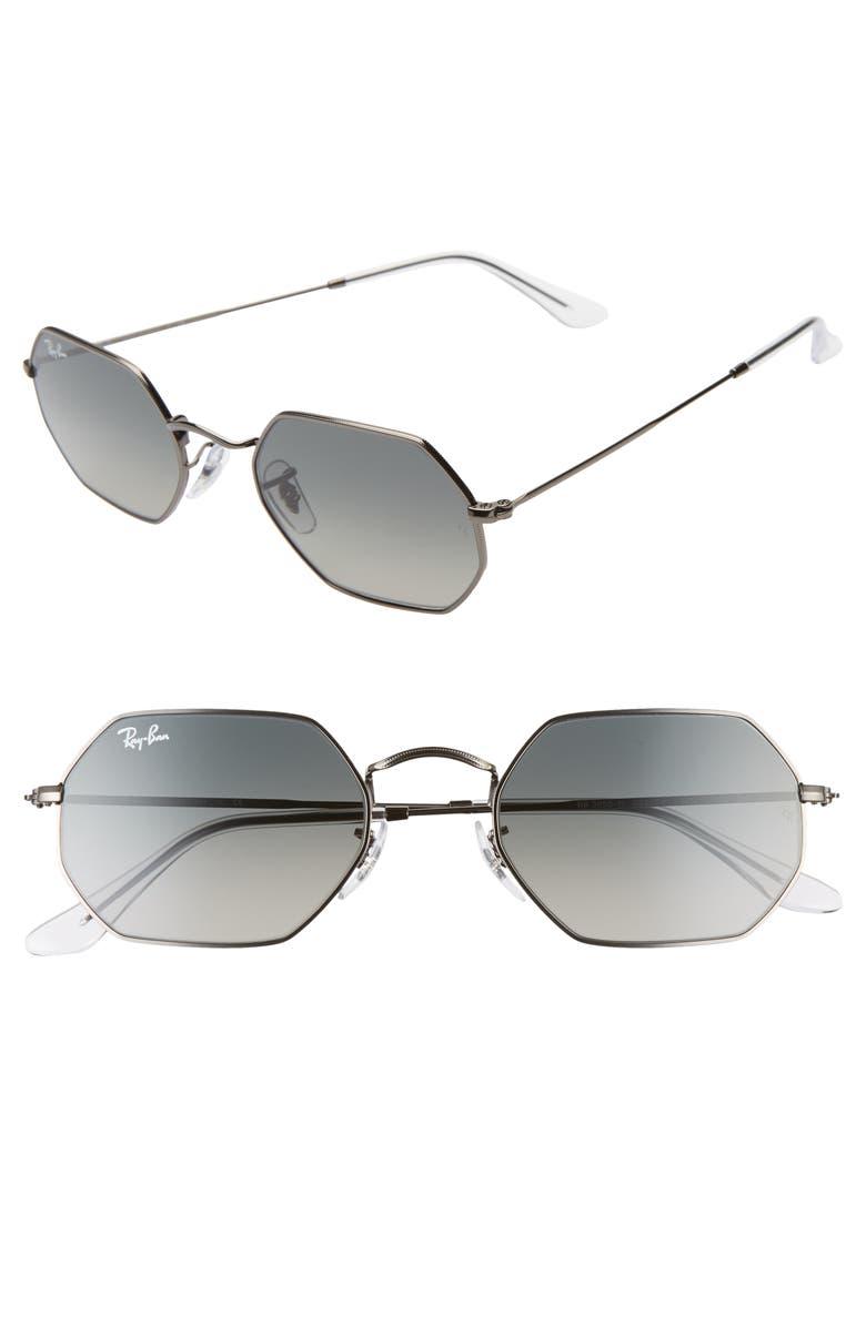 RAY-BAN 53mm Octagonal Sunglasses, Main, color, GUNMETAL