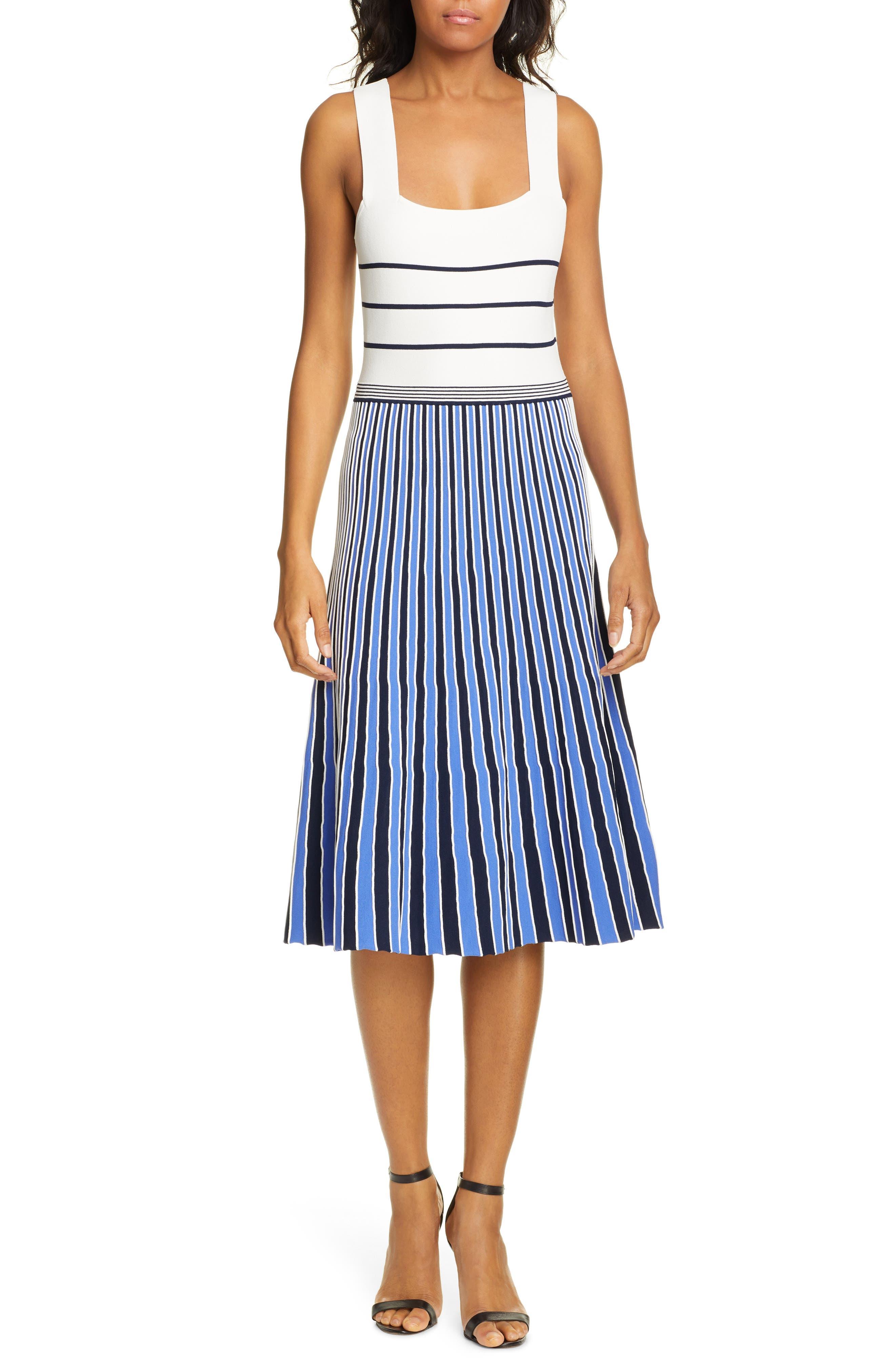Dvf Yasmin Pleated Knit Dress, Blue