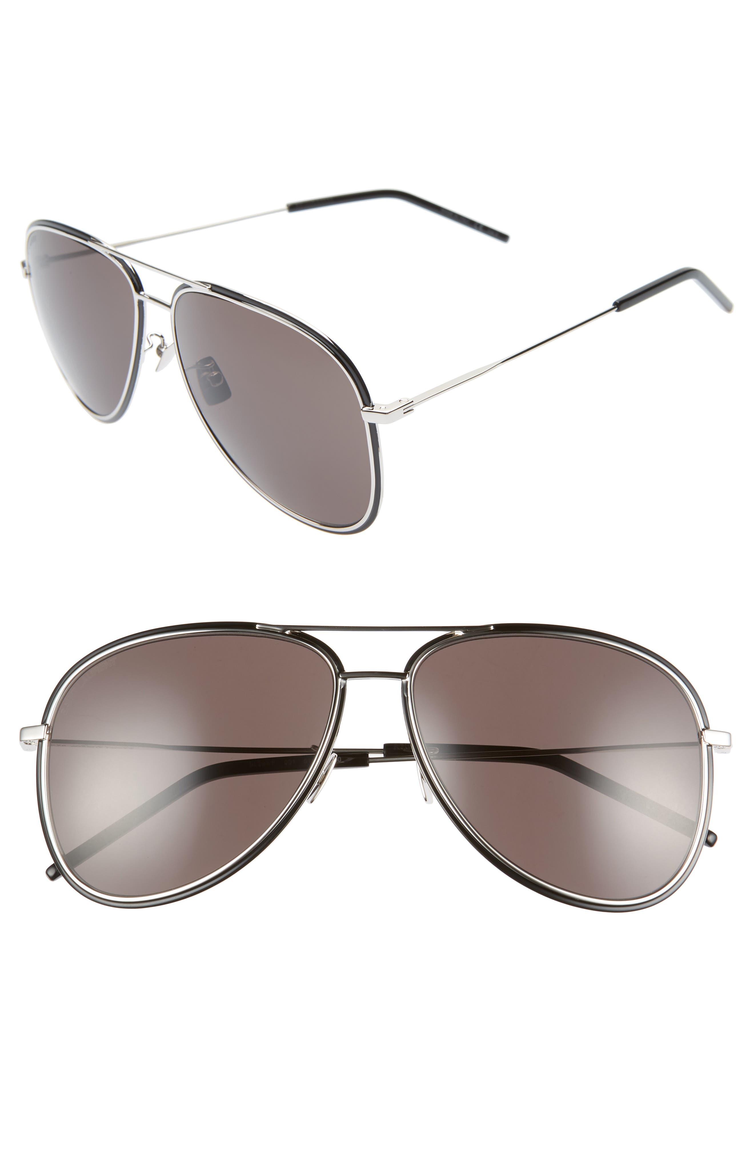 Saint Laurent 61Mm Aviator Sunglasses - Silver/ Black Enamel/ Grey