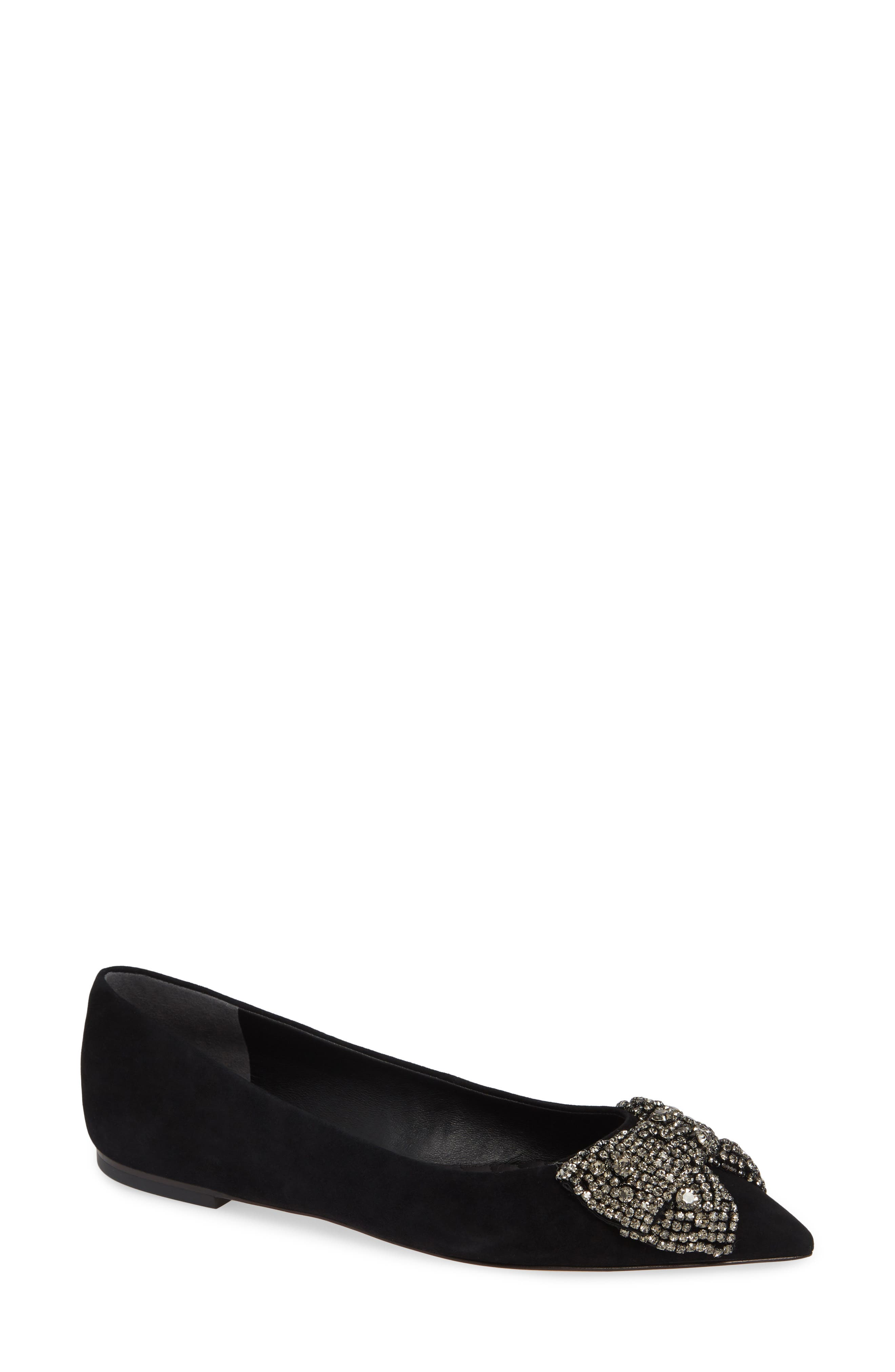 Tory Burch Esme Crystal Bow Flat, Black