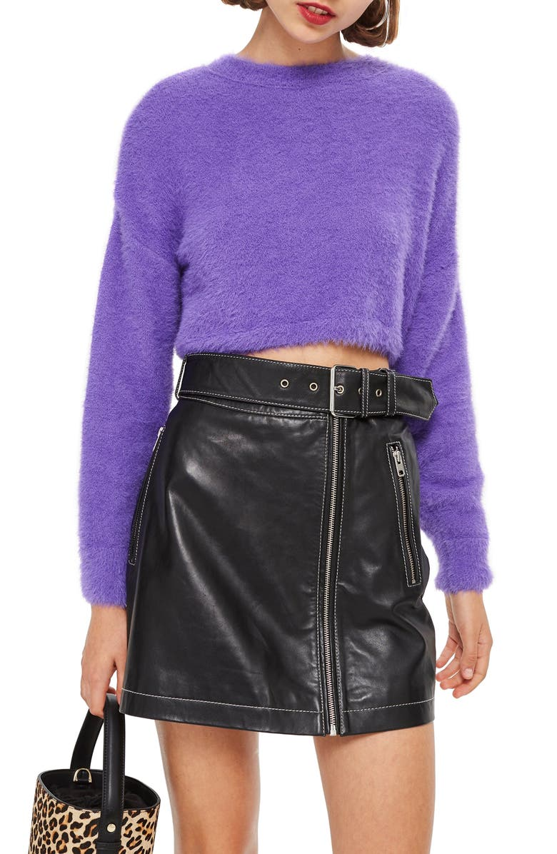 TOPSHOP Fluffy Crop Sweater, Main, color, 500