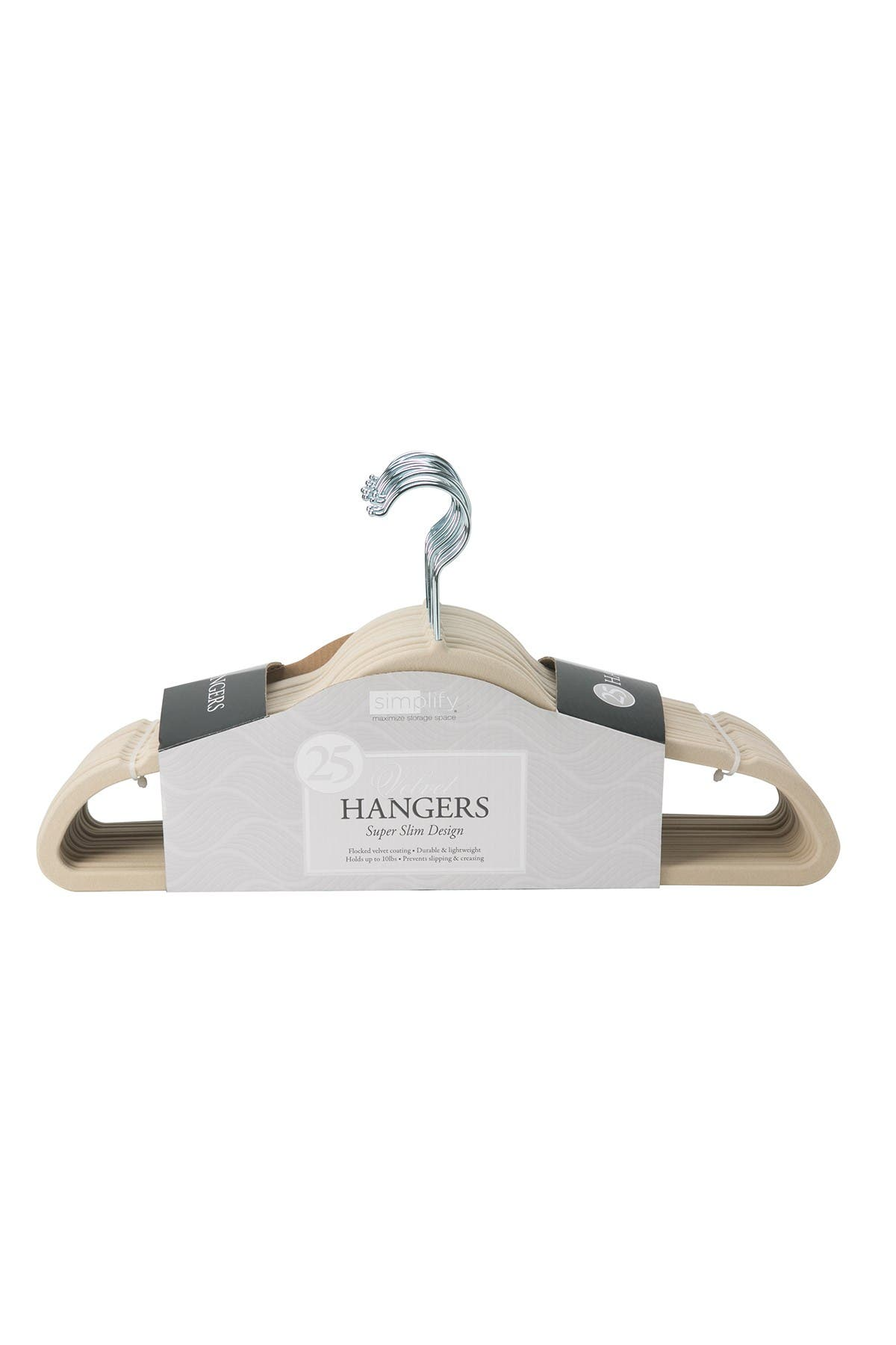 Image of Kennedy International Inc. Ivory Simplify Slim Velvet Suit Hanger - Set of 25