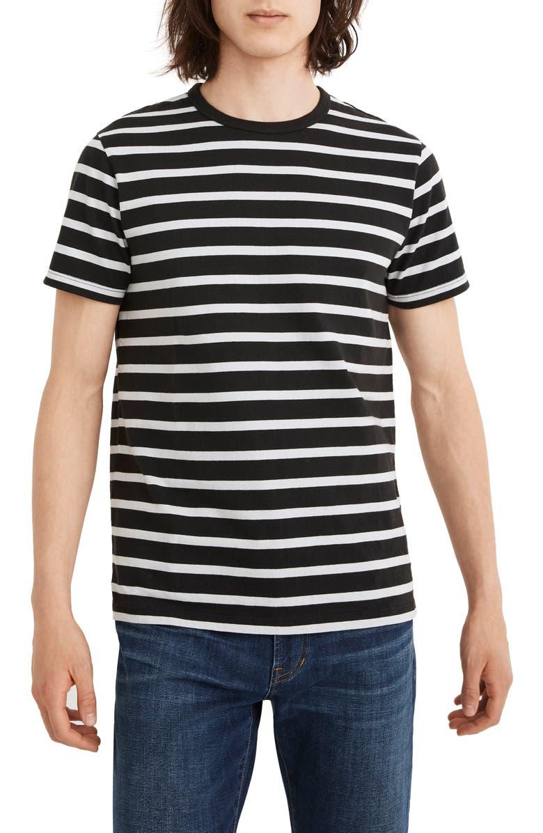 MADEWELL Allday Stripe Crewneck T-Shirt, Main, color, TRUE BLACK STRIPE