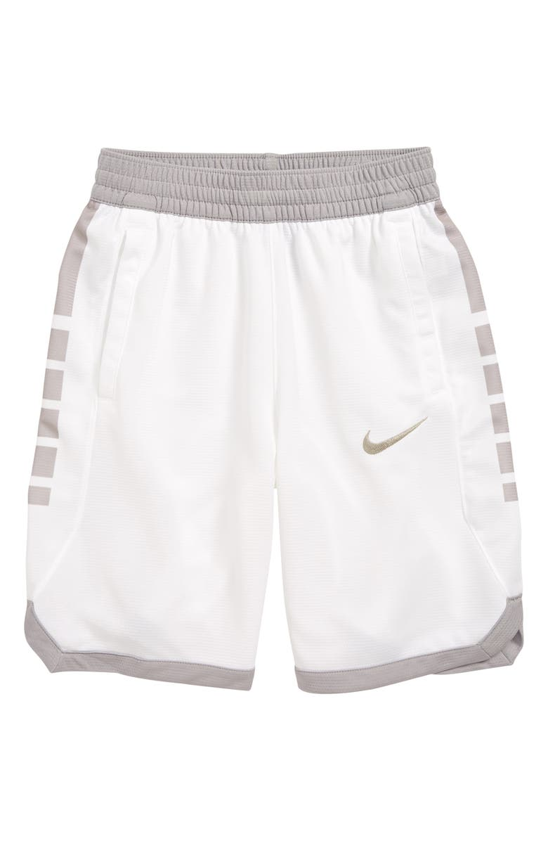 NIKE Dry Elite Basketball Shorts, Main, color, WHITE / ATMOSPHERE GREY