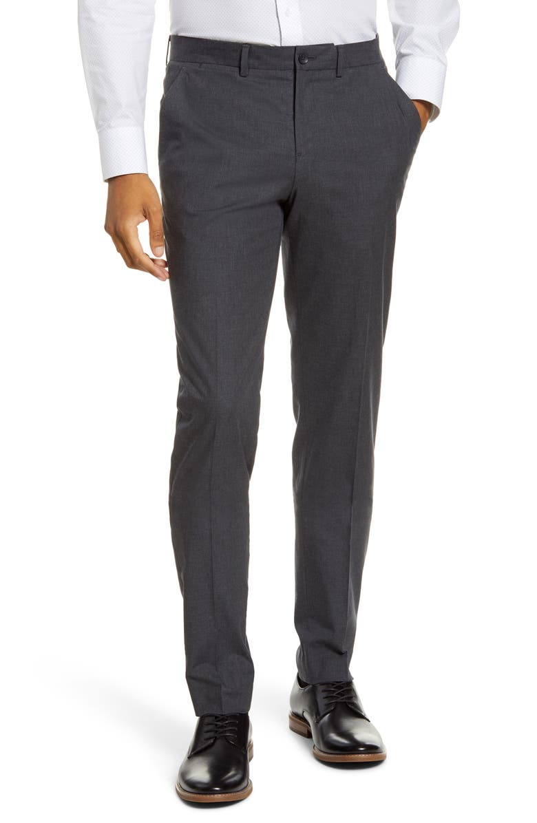 1901 Extra Trim Fit Flat Front Stretch Cotton Trousers, Main, color, GREY SHADE HEATHER