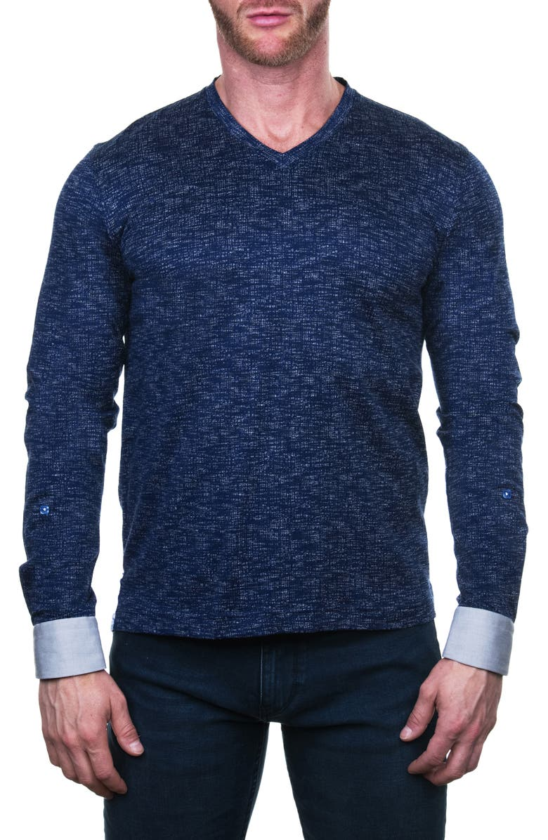 MACEOO Edison Regular Fit Grid Long Sleeve V-Neck T-Shirt, Main, color, BLUE