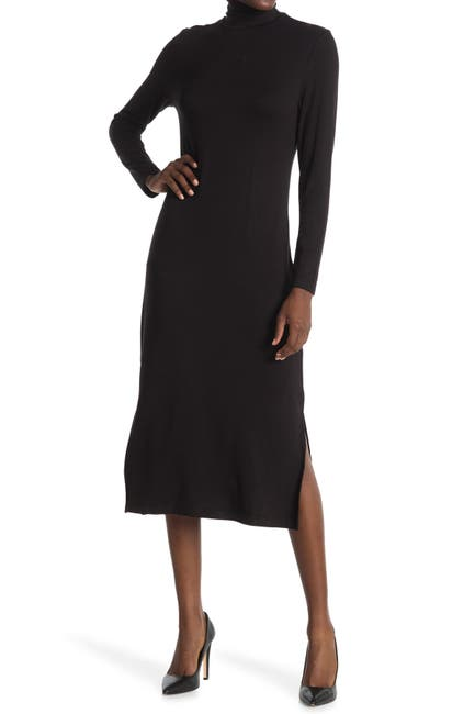 Image of T Tahari Turtleneck Long Sleeve Midi Dress
