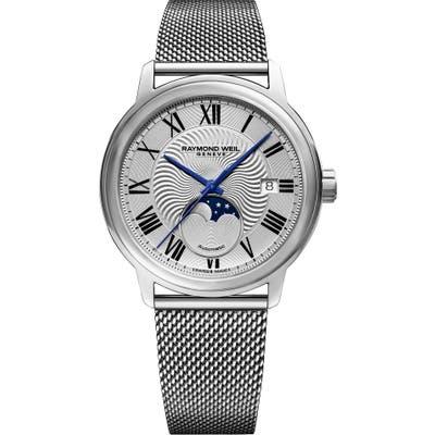 Raymond Weil Maestro Automatic Mesh Strap Watch, 39.5Mm