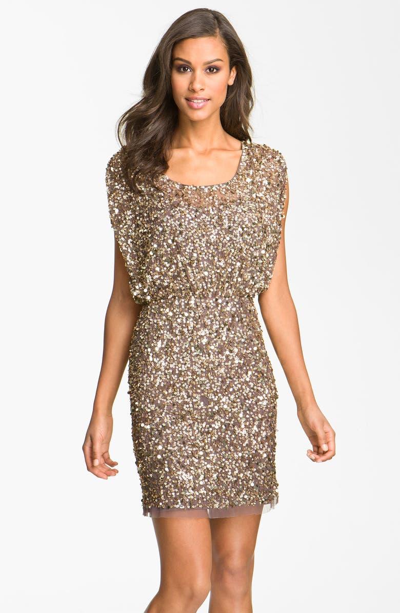 AIDAN MATTOX Beaded Blouson Dress, Main, color, 214