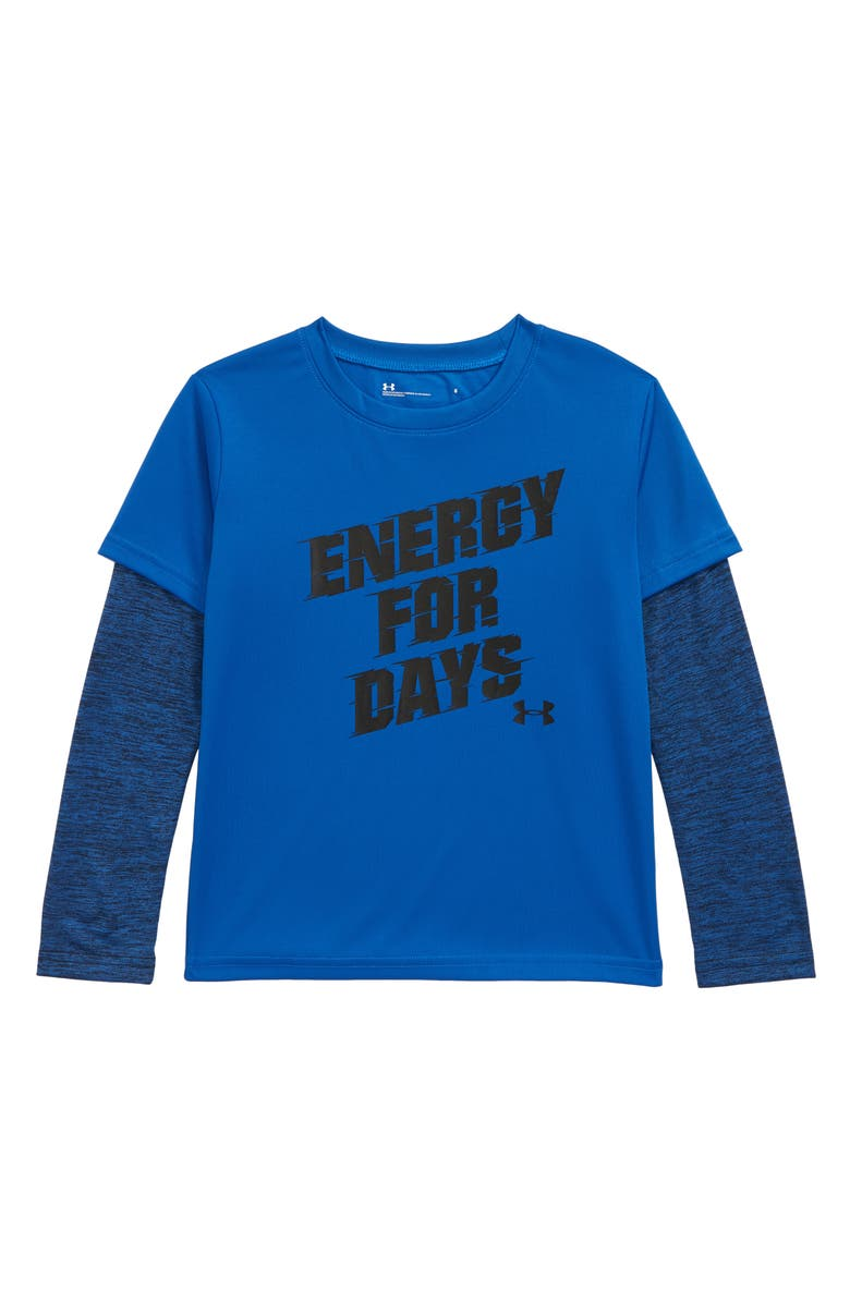 UNDER ARMOUR Energy For Days Layered T-Shirt, Main, color, POWDERKEG BLUE