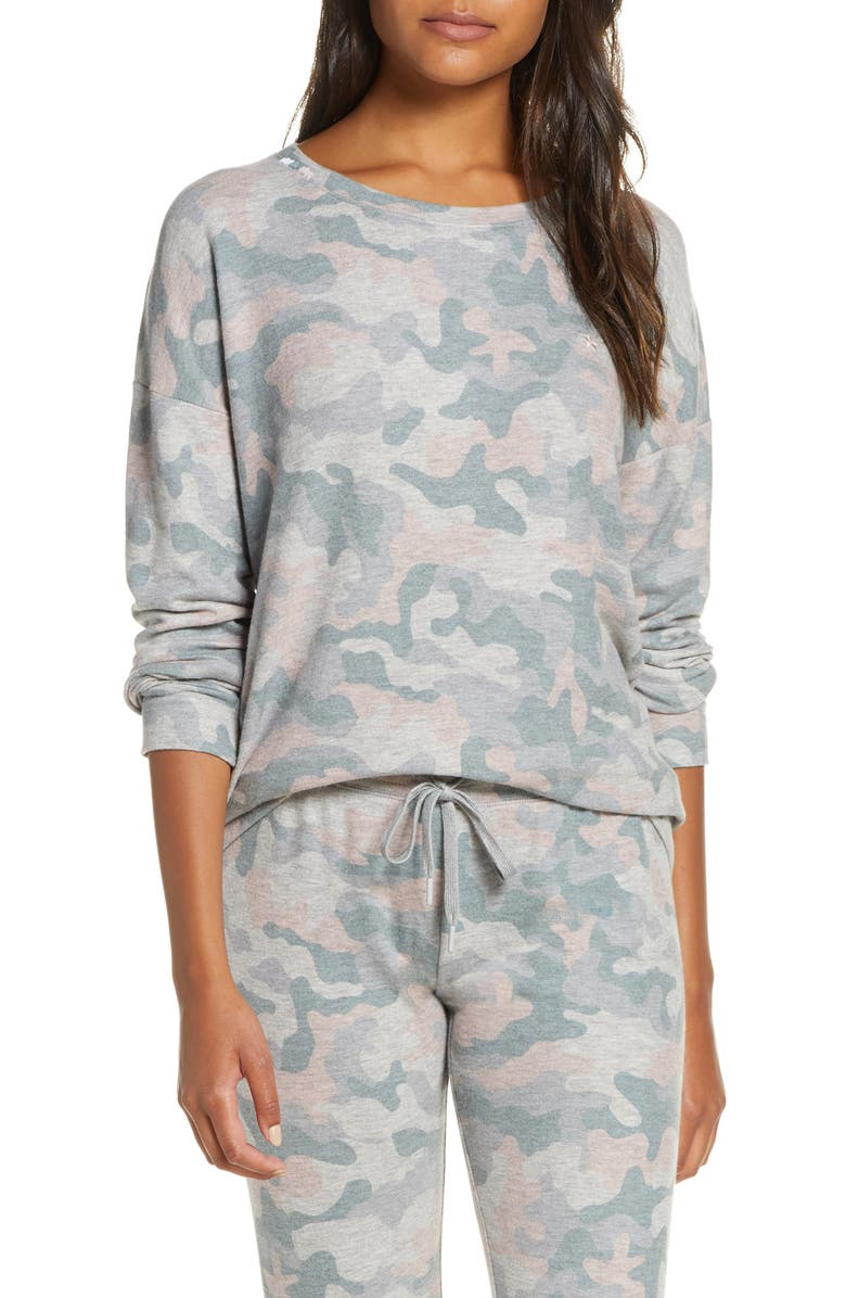 PJ SALVAGE Weekend Love Lounge Top, Main, color, H GREY