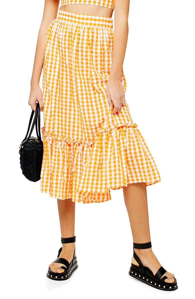 TOPSHOP Gingham Ruffle Midi Skirt, Main, color, ORANGE