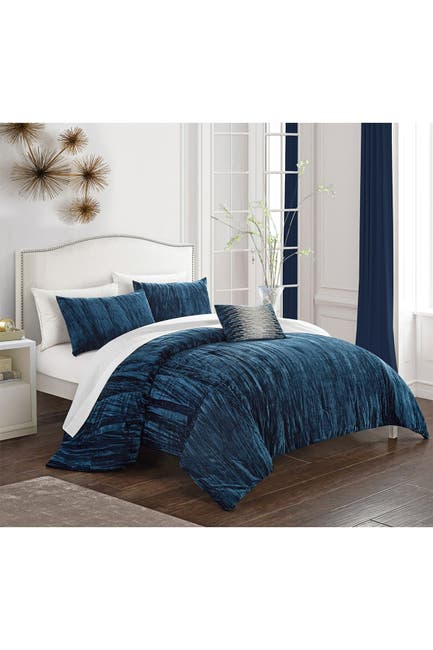 Image of Chic Home Bedding King Merieta Rich Textured Crinkle Velvet Design Comforter 4-Piece Set - Navy