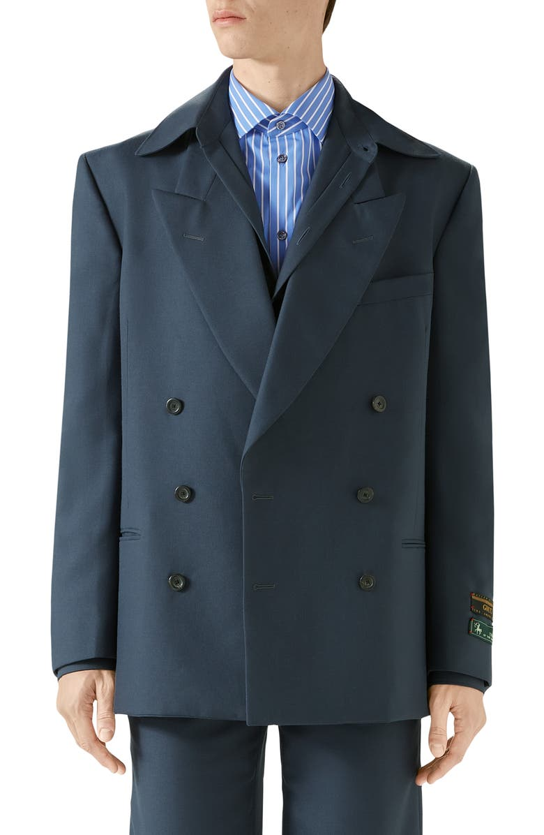 GUCCI Military Drill Jacket, Main, color, IRON BLUE