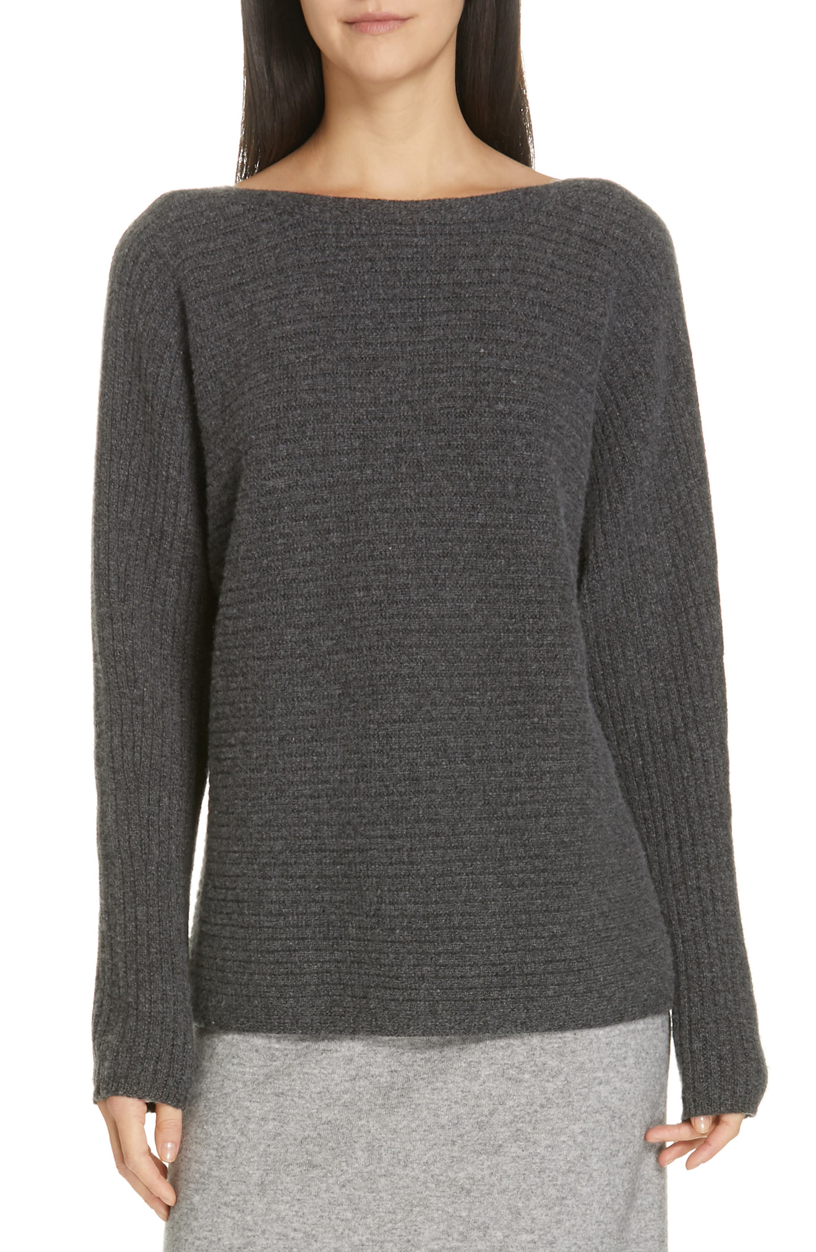 Horizontal Ribbed Sweater, Main, color, HEATHER PEWTER