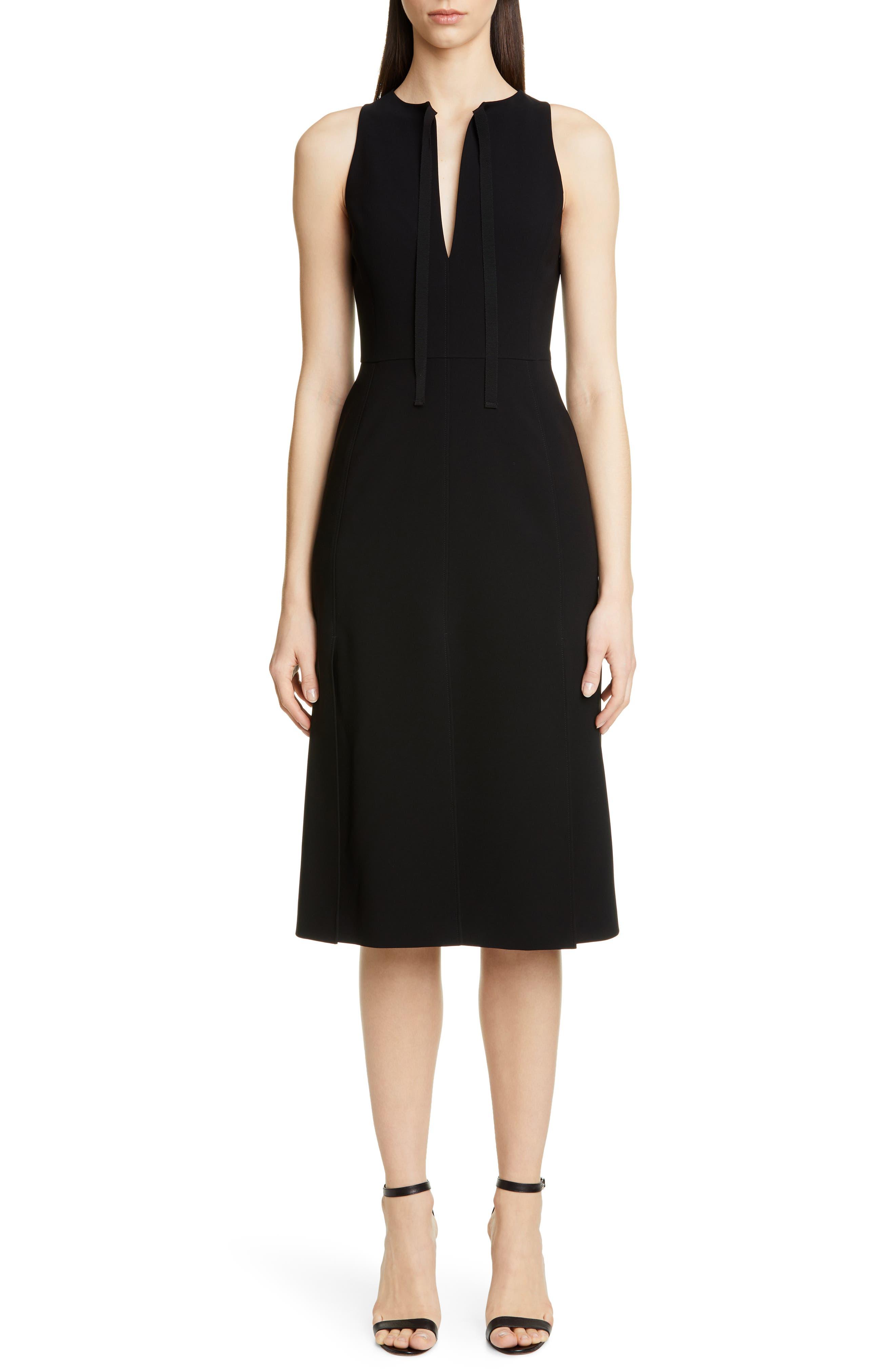 Altuzarra Split Neck Sleeveless Midi Dress, US / 46 FR - Black