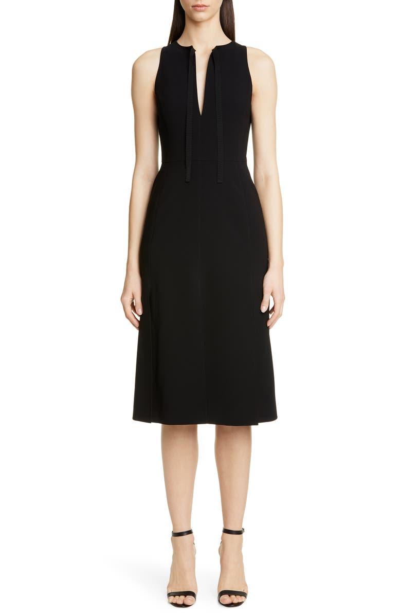 ALTUZARRA Split Neck Sleeveless Midi Dress, Main, color, 001