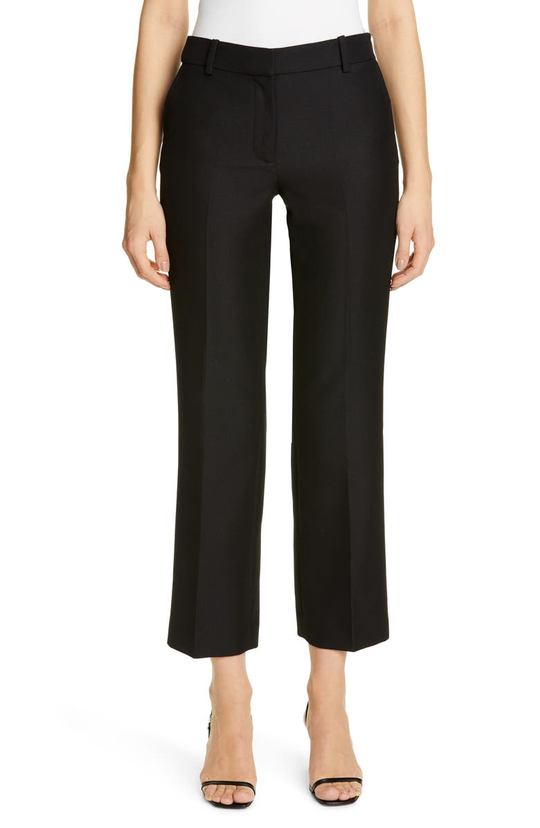 ALEXANDER WANG Side Zip Wool Blend Straight Leg Trousers, Main, color, BLACK