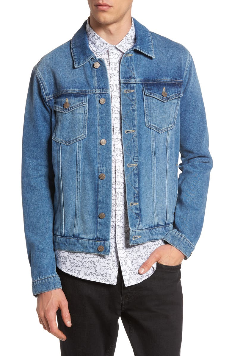 TOPMAN Griffin Denim Jacket, Main, color, 400