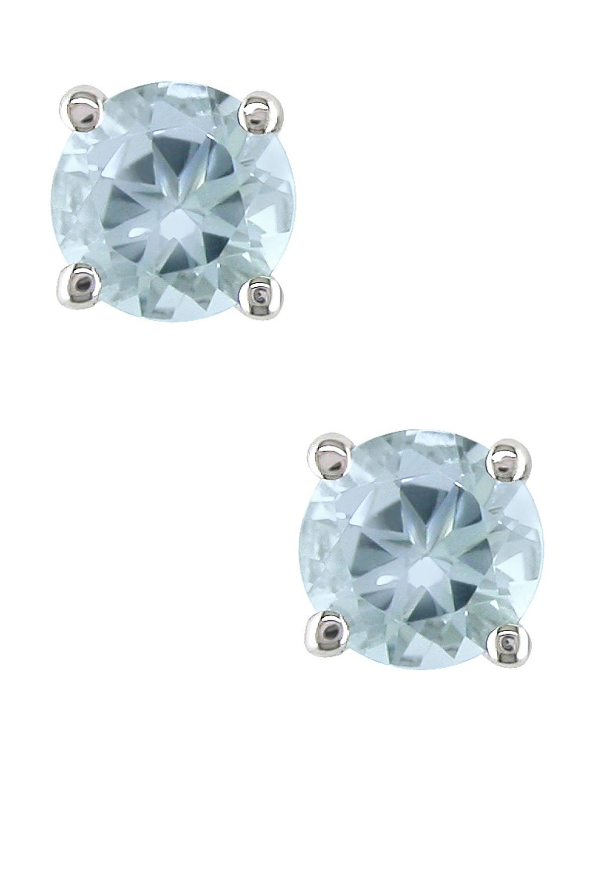 Image of Delmar 14K White Gold Round Aquamarine Stud Earrings