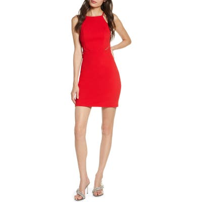 Sequin Hearts Crepe Minidress, Red