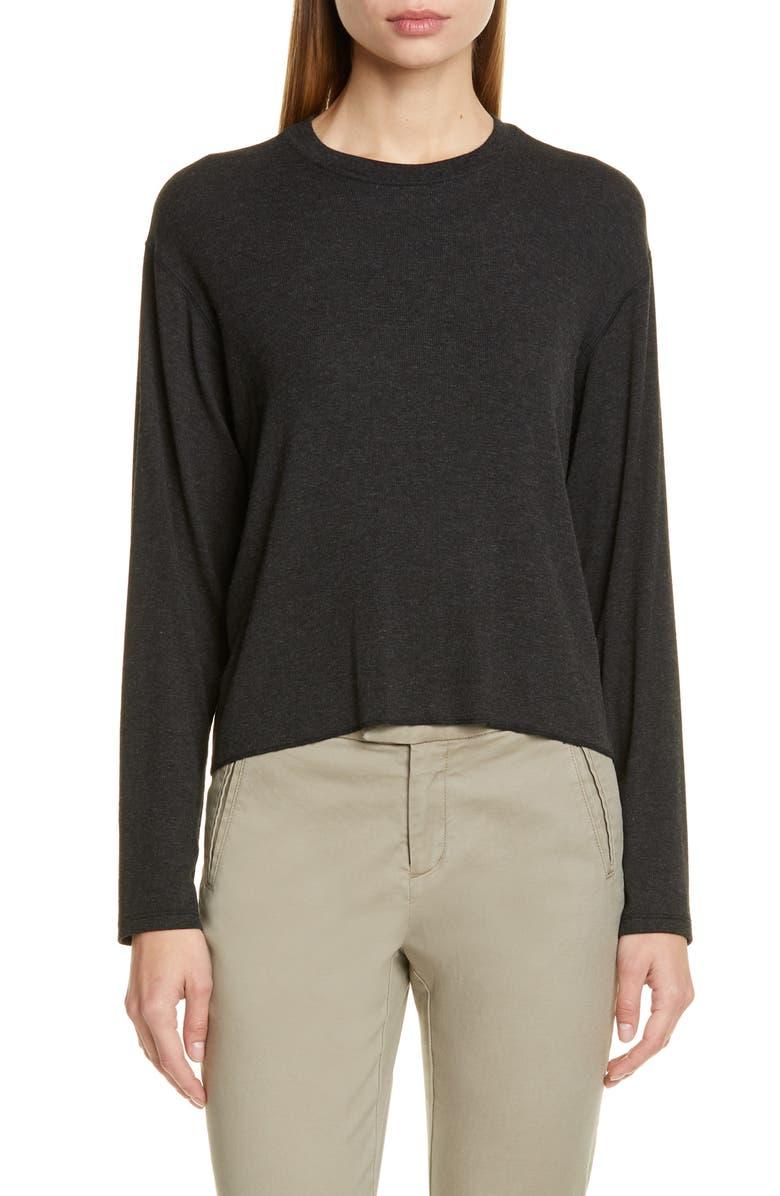 ATM ANTHONY THOMAS MELILLO Boy Stretch Modal Sweater, Main, color, HEATHER BLACK