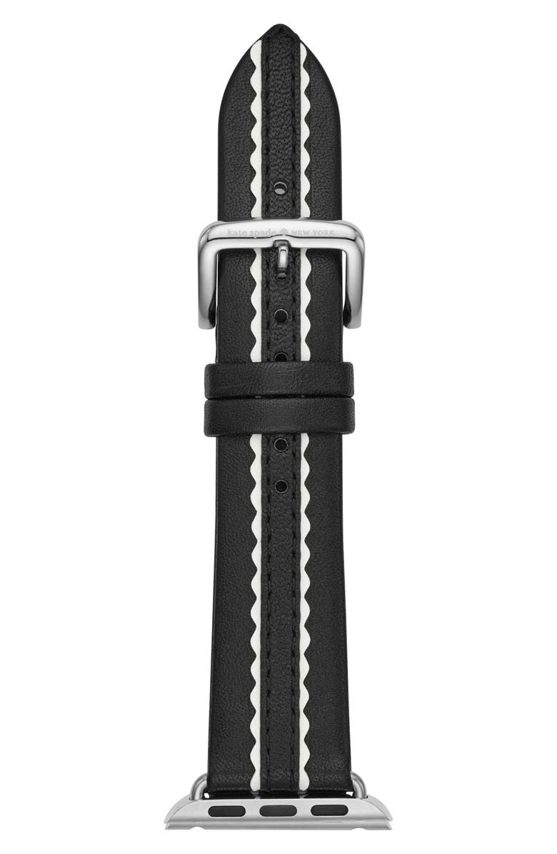 KATE SPADE NEW YORK Apple Watch<sup>®</sup> strap, 38mm, Main, color, BLACK/ WHITE