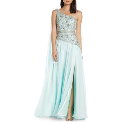 MAC Duggal One-Shoulder Sequin Prom Dress With Cape Detail, Green