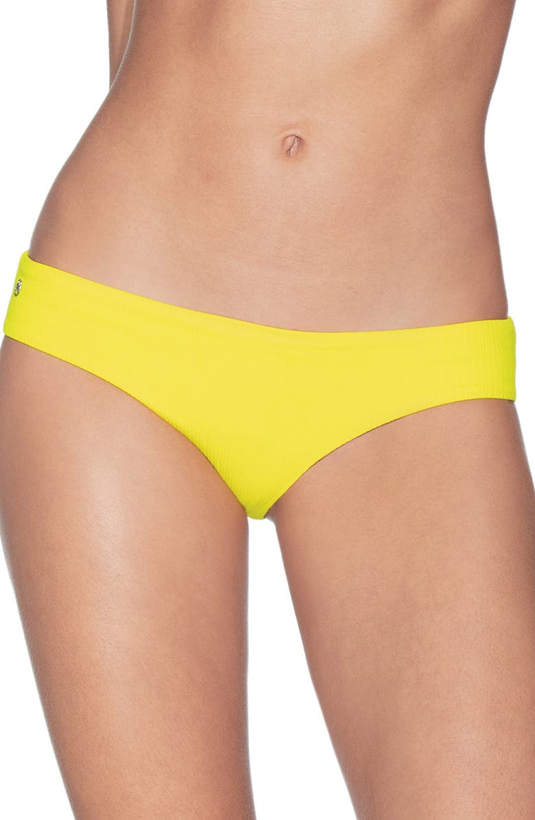 MAAJI Sublime Texture Signature Cut Reversible Bikini Bottoms, Main, color, SUBMARINE YELLOW RIB