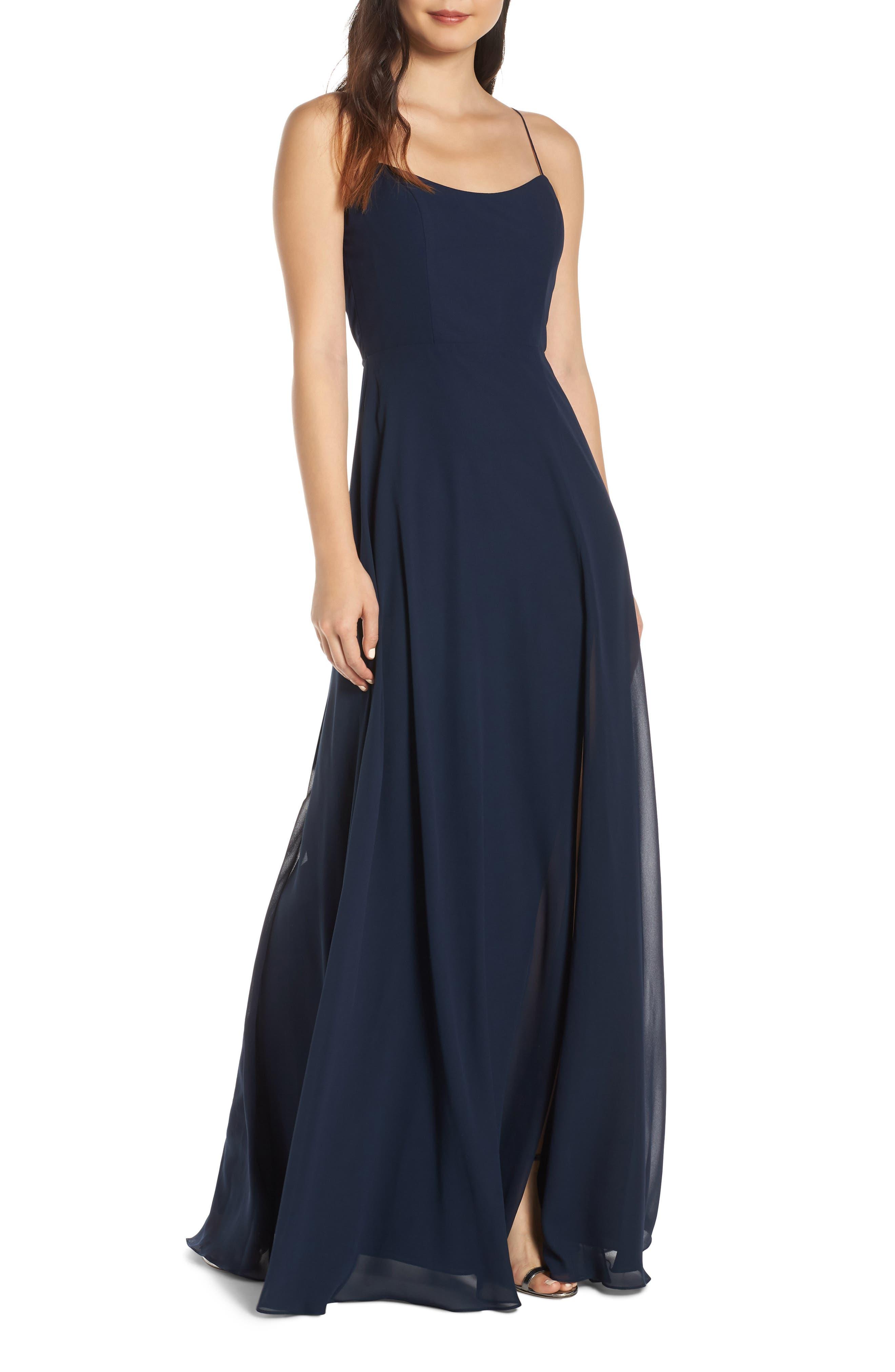 Kiara Bow Back Chiffon Evening Dress, Main, color, NAVY