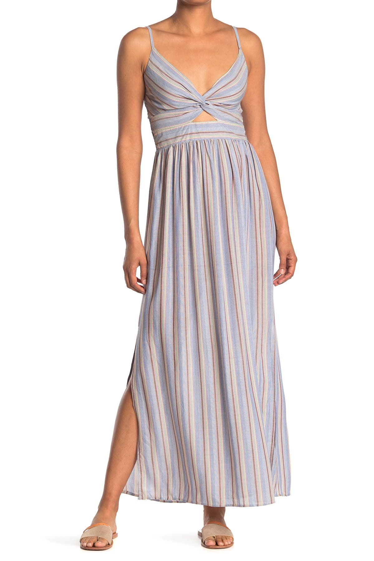 Image of Angie Stripe Print Cutout Maxi Dress