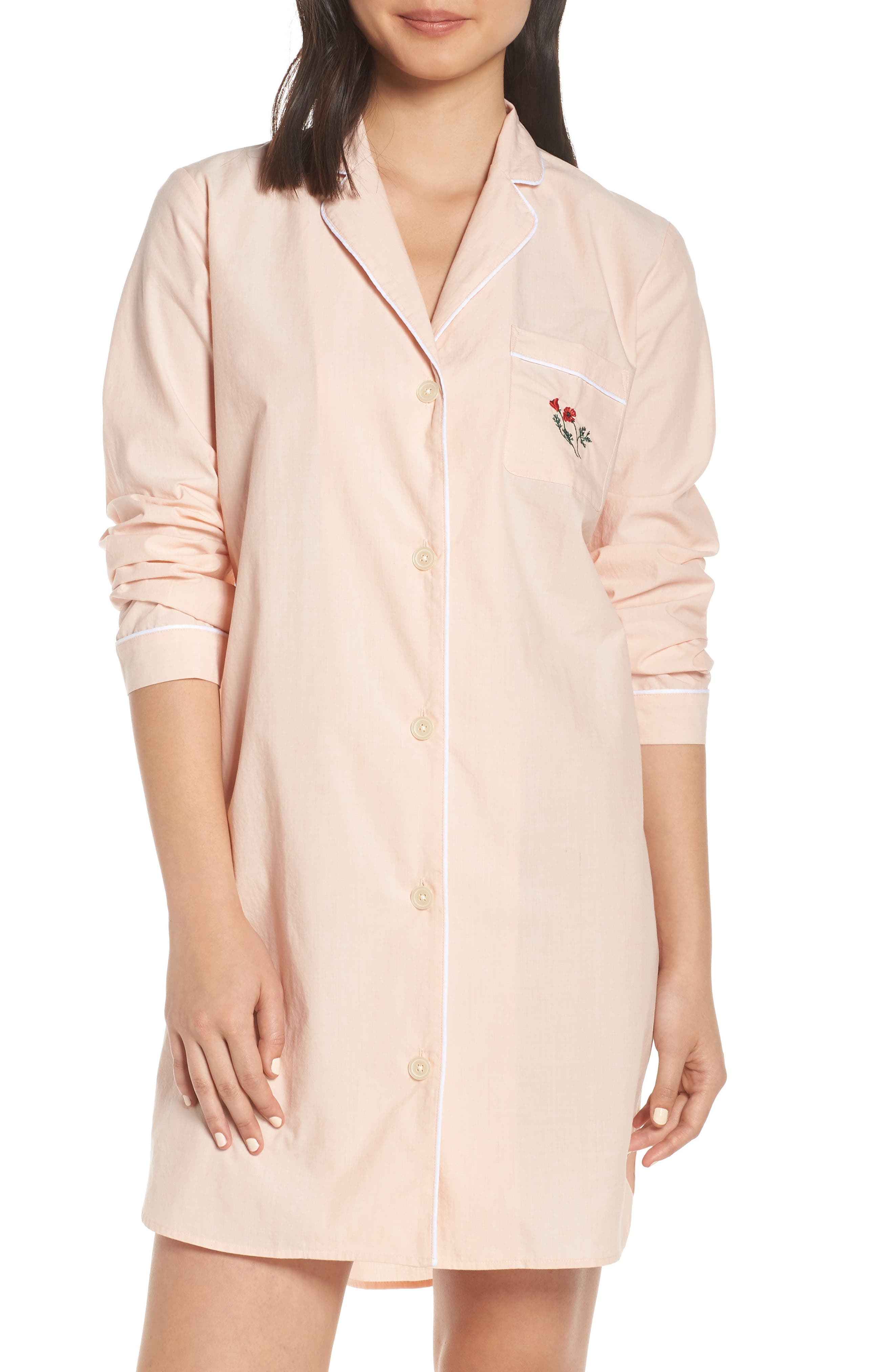 Madewell Poppy Embroidered Bedtime Nightshirt, Pink