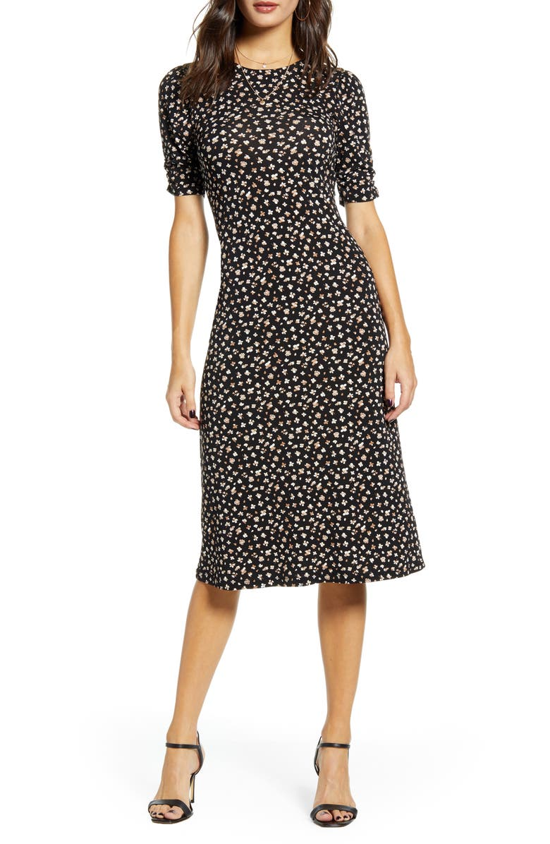 ALL IN FAVOR Floral Print Midi Dress, Main, color, 001