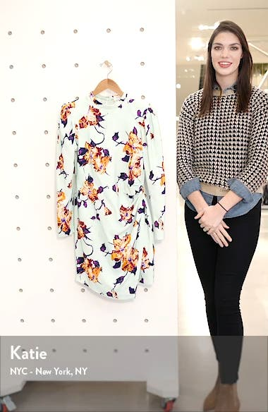 Jane Floral Leg of Mutton Long Sleeve Minidress, sales video thumbnail