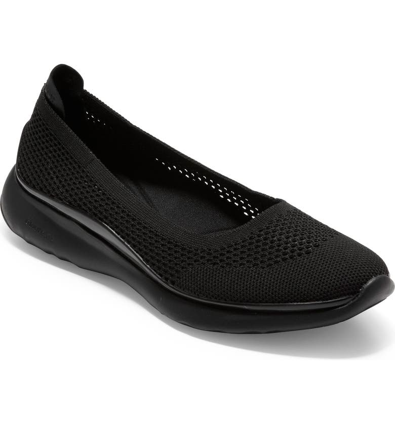 COLE HAAN ZeroGrand Knit Slingback Flat, Main, color, BLACK KNIT/ LEATHER