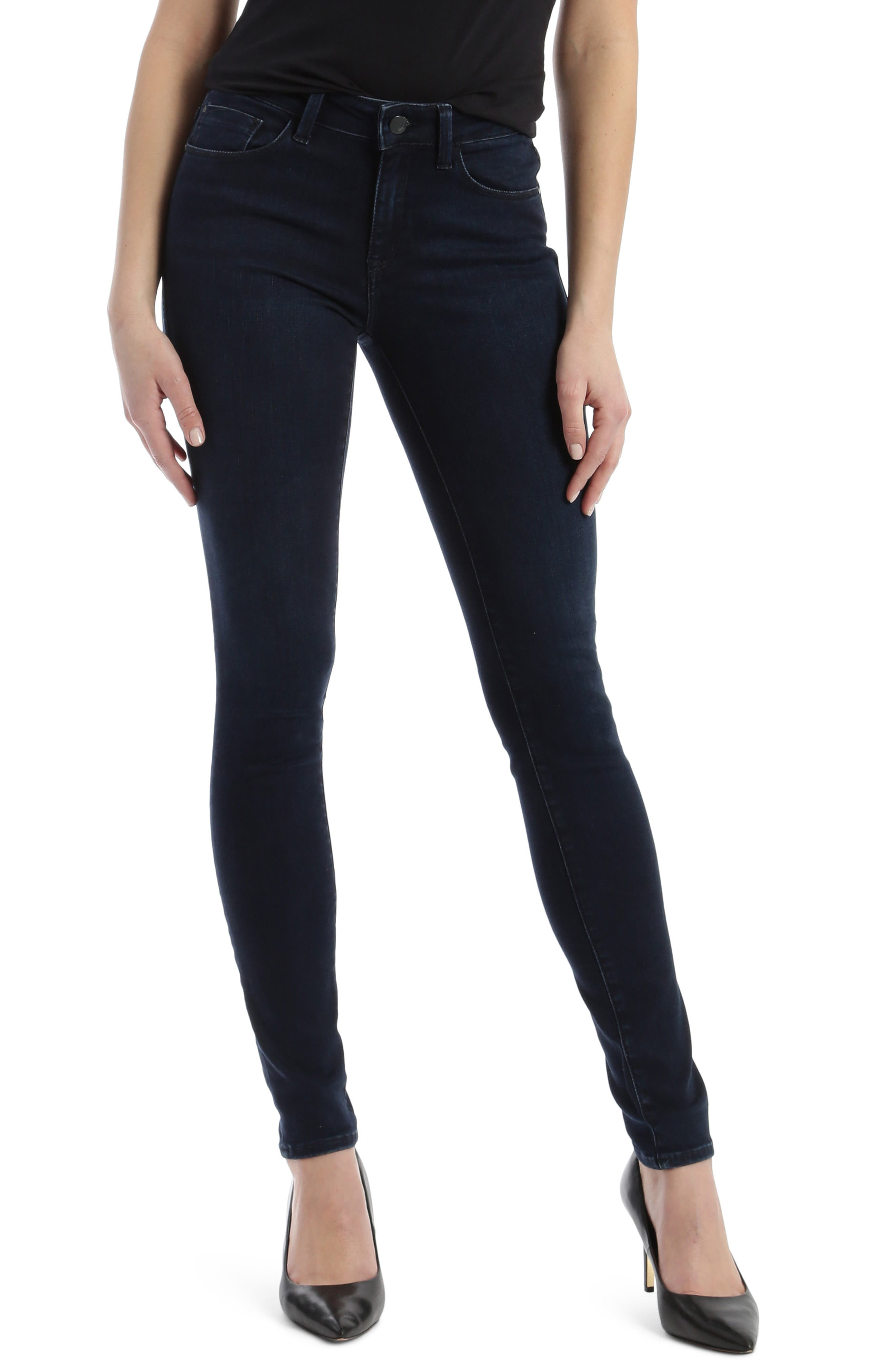 A deep, dark blue plays up the sleek look of these snug-fitting skinnies in soft premium denim with just the right amount of stretch. Style Name: Mavi Jeans Deep Gold Adriana Stretch Super Skinny Jeans (Deep Pima). Style Number: 5936436. Available in stores.