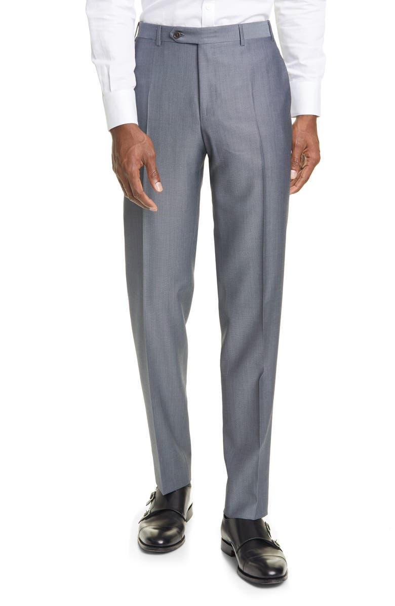 CANALI Classic Fit Flat Front Wool & Mohair Dress Pants, Main, color, 020