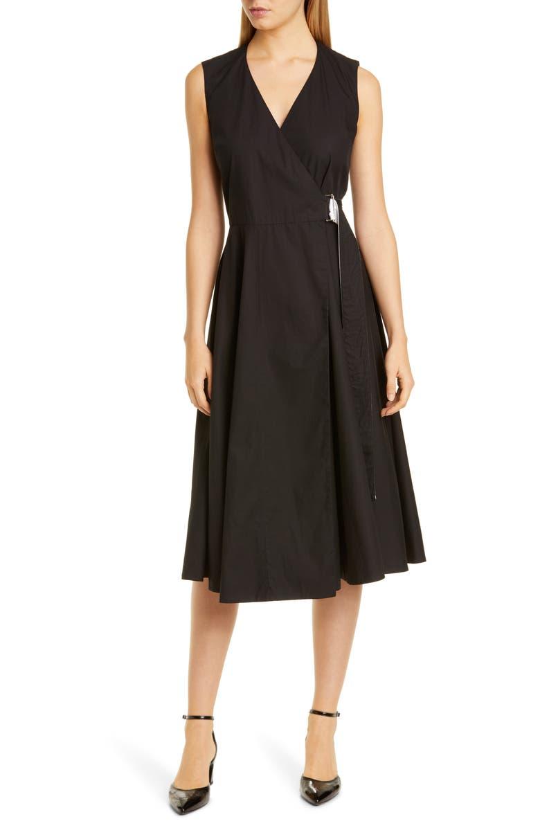 ROSETTA GETTY Cotton Poplin Wrap Dress, Main, color, BLACK