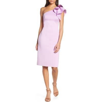 Eliza J One-Shoulder Ruffle Sheath Cocktail Dress, Purple