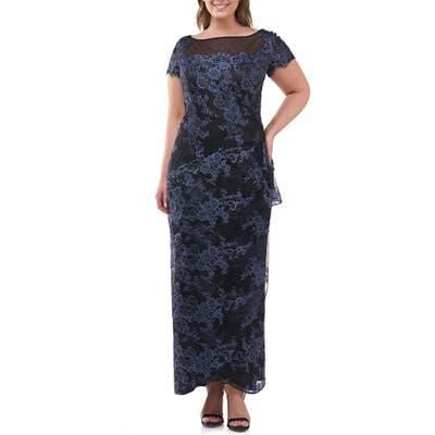 Plus Size Js Collections Floral Lace Ruffle Gown, Blue