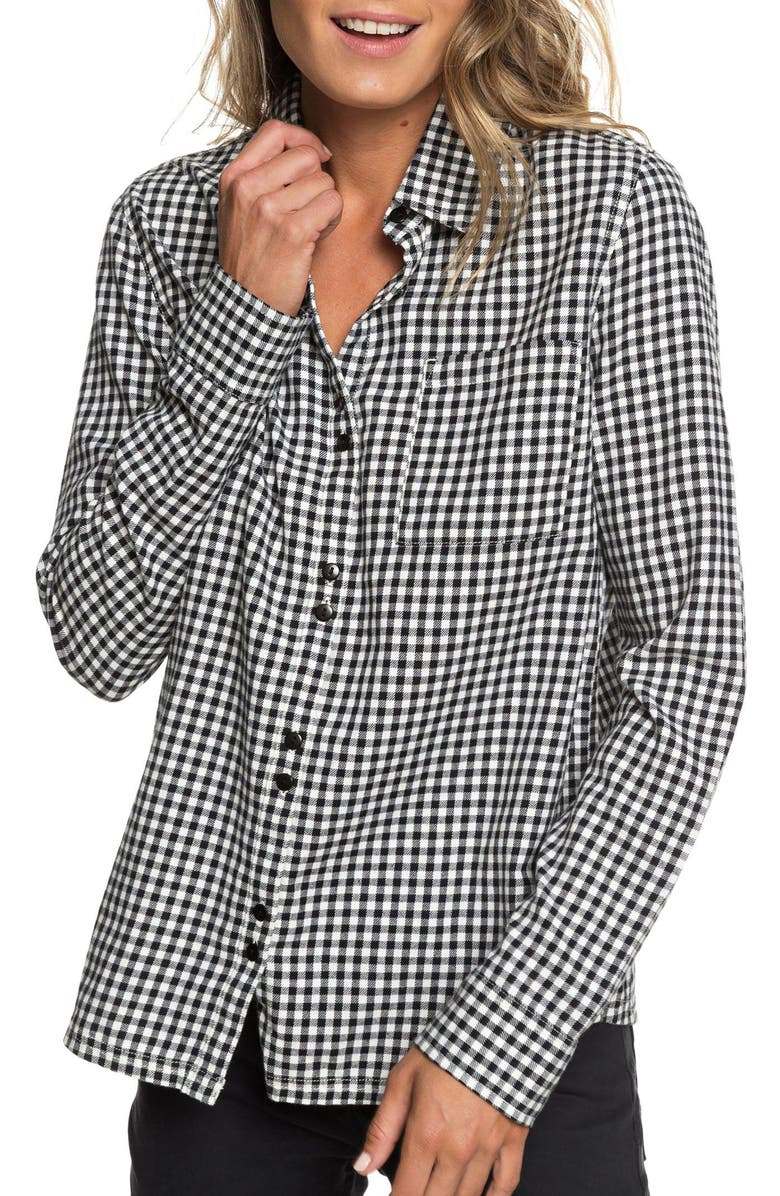 ROXY Concrete Streets Gingham Flannel Shirt, Main, color, 001