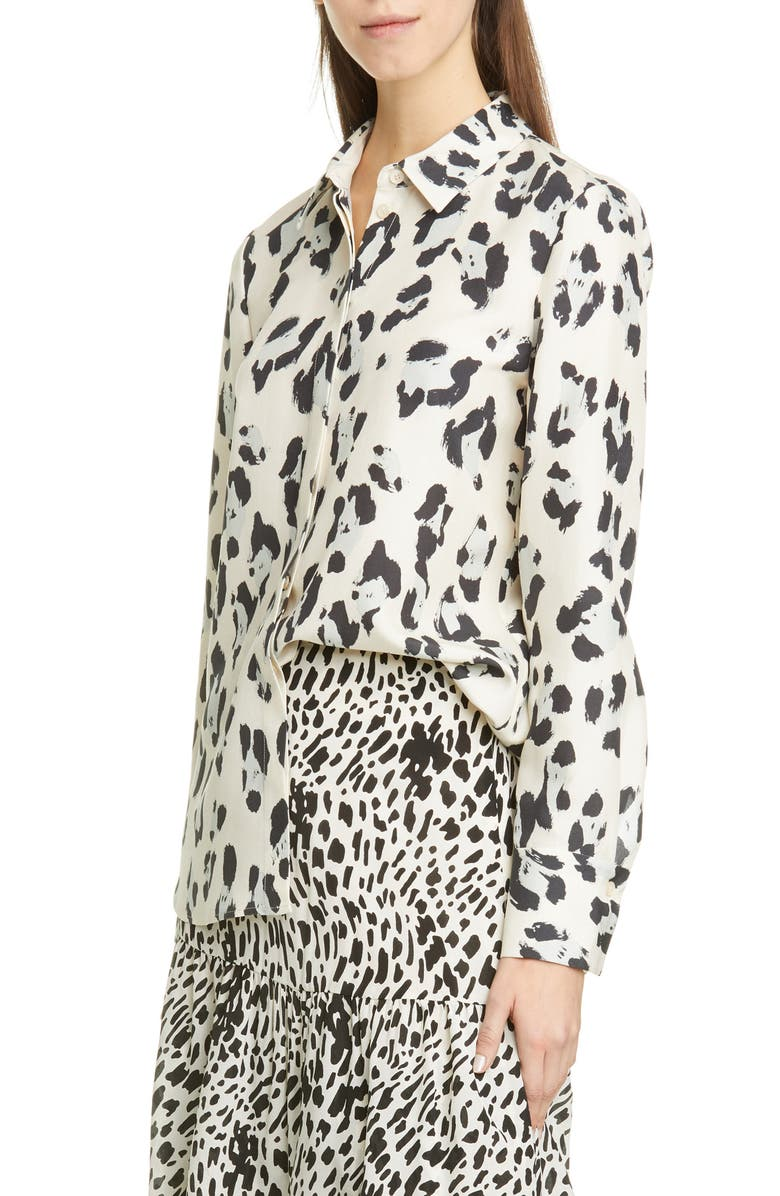 LAFAYETTE 148 NEW YORK Scottie Spot Print Silk Shirt, Main, color, PEPPERMINT MULTI